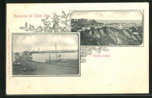AK Puerto Limón, Verladebahnhof am Hafen, Ortsansicht
