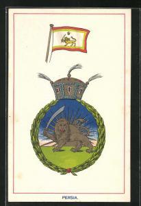 AK Iran, Wappen und Fahne von Persien