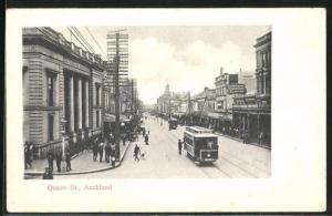 AK Auckland, Queen Street, Strassenbahn