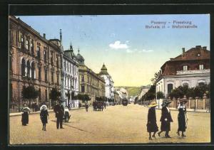 AK Pozsony / Pressburg, Blick in die Stefaniestrasse