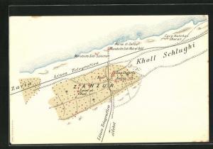 AK Zanzur, Landkarte mit Kholl Schlughi und Telgrafenlinien