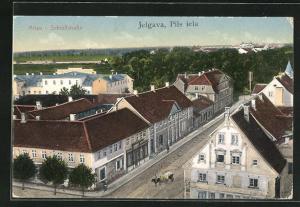 AK Jelgava / Mitau, Schlossstrasse aus der Vogelschau