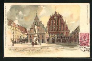 Lithographie Riga, der Rathausplatz