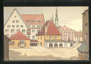 Künstler-AK E. Deeters: Tallinn, alter Marktplatz