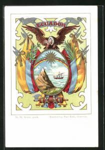 Künstler-AK Ecuador, Nationalfahne und Wappen