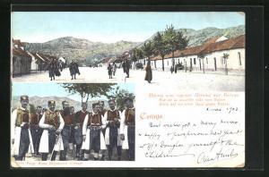 AK Cetinje, Blick auf die neue Stadt gegen Bajice