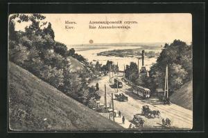 AK Kiev, Rue Alexandrowskaja, Strassenbahnen