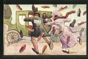 Künstler-AK sign. Cynicus: Paar Sold und Bought rennt zu seiner Kutsche und wird mit Schuhen beworfen