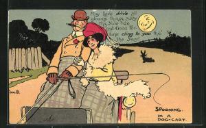 Künstler-AK Tom Browne: Verliebtes Paar bei einer Kutschfahrt im Mondschein