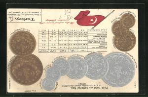 Präge-AK Türkei, Geldmünzen, Lira und Piaster, Umrechnungstabelle und türkische Nationalflagge