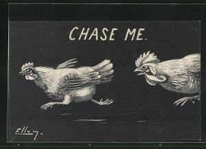 Künstler-AK sign. Ellam: Henne wird vom Hahn gejagt, Chase me!