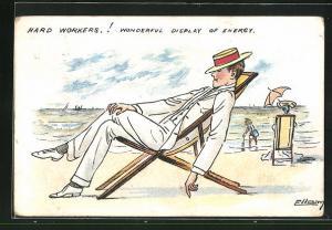 Künstler-AK sign. Ellam: Mann sitzt schlafend im Liegestuhl am Strand