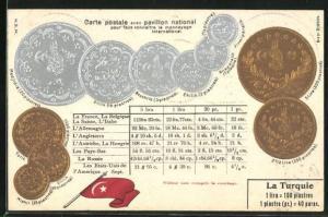 Präge-AK Türkei, Geldmünzen Lira und Piaster, Umrechnungstabelle und türkische Nationalflagge