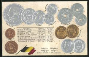 Präge-AK Belgien, Geldünzen, verschiedene Franc Münzen