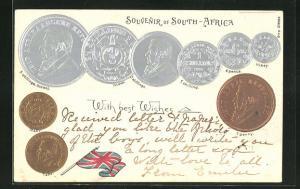 Präge-AK Geld South-Africa, Shillings, Penny, Sov, Flagge