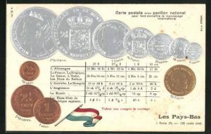 Präge-AK Geldmünzen aus Niederlande, Florin und Cents, Umrechnungstabelle, Flagge