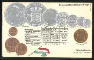 AK Münzenkarte und Nationalflagge Niederlande, Gulden und Cent, Umrechnungstabelle, Geld