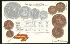 Präge-AK spanische Geldmünzen und Flagge, Postcard with natioal flag to give information about international coinage