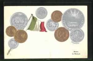 Präge-AK Geldmünzen und Flagge aus Mexiko
