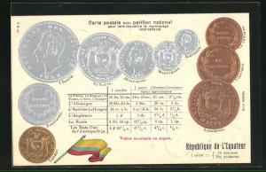Präge-AK Geldmünzen und Flagge Ecuadors