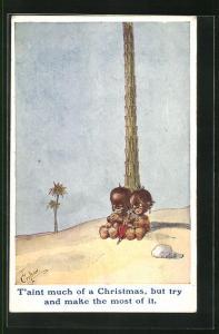Künstler-AK T. Gilson: Afrikanisches Pärchen sitzt unter einer Palme