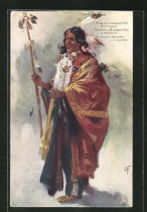 Künstler-AK J. F.: The Song of Hiawatha - Longfellow, From his Forehead fell his Tresses, ... First Nation