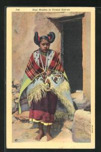 AK Hopi Maiden in Formal Hair-do, Mädchen mit zeremonieller Frisur, First Nation
