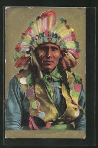 Präge-AK Angehöriger der First Nation mit Federschmuck