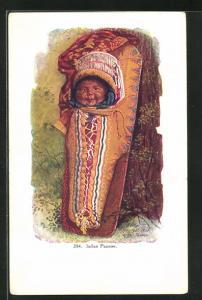 Präge-Künstler-AK Papoose, Kind in Trage, First Nation