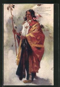 AK The Song of Hiawatha - Longfellow, First Nation, Mann in festlicher Kleidung