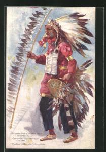 Künstler-AK J. F.: The Song of Hiawatha - Longfellow, Tänzer mit Federschmuck, First Nation