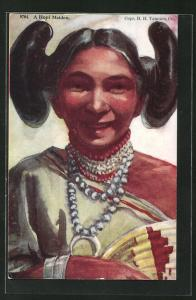 AK Hopi Maiden, junge Frau mit traditioneller Frisur, First Nation