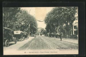 AK Port-Louis / Ile-Maurice, Place d`Armes, Strassenpartie