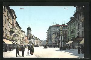 AK Fiume, Corso, Strassenpartie im Zentrum