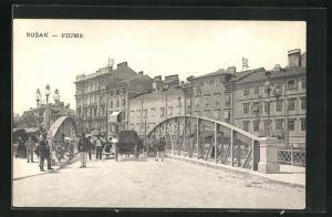 AK Susak - Fiume, Strassenpartie an der Brücke