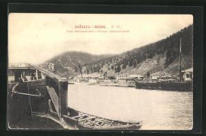 AK Listvianitchnoé, Teilansicht, Schiffe auf dem Fluss