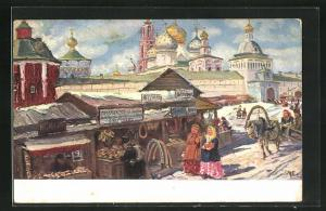 Künstler-AK Sergievo-Troitsk, Le monastere, Marktplatz