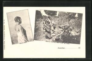 AK Zanzibar, Native Girl, Natives drawing water from the wells