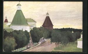 Künstler-AK Solovetz, Monastere vue de l`Hotel de St. Petersbourg