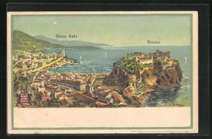 Künstler-AK Monte Carlo, Ortsansicht
