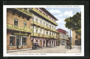 AK Panama, Fifth Street, showing Central Hotel