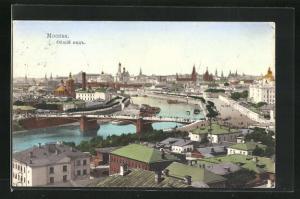 AK Moskau, Ansicht des Stadtkerns mit Moskwa