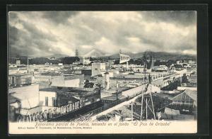 AK Puebla, Panorama parical, teniendo en el fondo El Pico de Orizabo