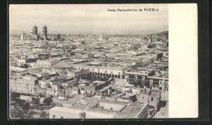 AK Puebla, Vista Panoramica, Blick über Häuser und Kirche