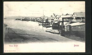 AK Bocas, Water Front, Blick auf Häuser auf Steg mit Booten
