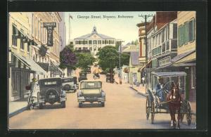 AK Nassau, George Street, Charlotte Hotel, Automobile und Kutsche