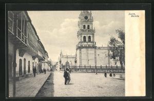 AK Sucre, Blick auf Kirchturm und Platz