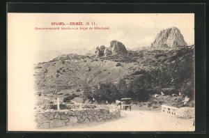 AK Sebastopol, Crimee, Le trajet, Blick von Landstrasse auf Felsen