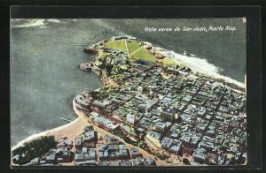 AK San Juan, Teilansicht über Häuser an Küste, Fliegeraufnahme