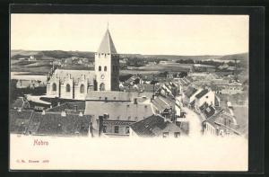 AK Hobro, Teilansicht auf Häuser, Kirche und Landschaft
